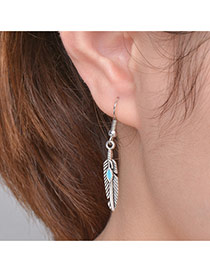 Fashion Silver Color Leaf Shape Pendant Decorated Simple Earrings