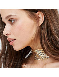 Personalized Gold Color Pure Color Design Hollow Out Simple Choker