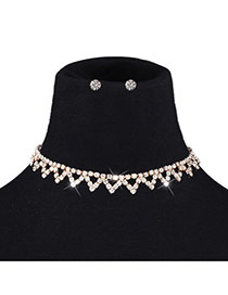 Retro Gold Color Diamond Shape Decorated Short Chain Simple Jewelry Sets