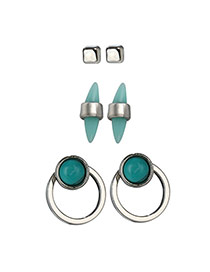 Trendy Green+silver Color Gemstone Decorated Irregular Shape Earrings (3pcs)