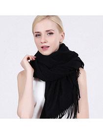 Fashion Black Tassel Decorated Pure Color Design Simple Scarf
