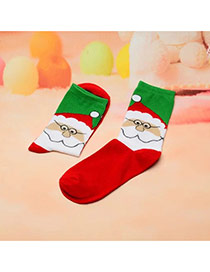 Fashion Red+green Father Christmas Pattern Decorated Simple Sock