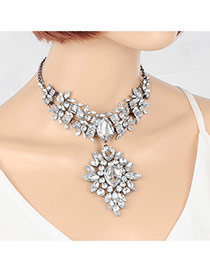 Fashion Silver Color Watershape Shape Diamond Decorated Short Chain Necklace