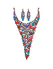 Elegant Multi-color Oval Shape Gemstone Decotrated Hollow Out Necklace Reviews