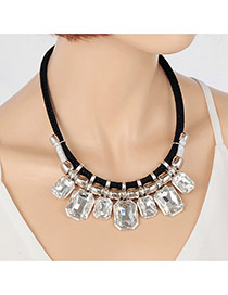 Exaggerate Silver Color Square Shape Pendant Decorated Short Chain Necklace