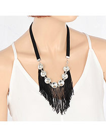Personality Black Round Shape Decorated Simple Short Chain Tassel Necklace