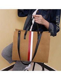 Fashion Khaki Color-matching Decorated Square Shape Bag
