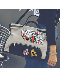 Fashion White Patch Decorated Square Shape Subtle Life Bag