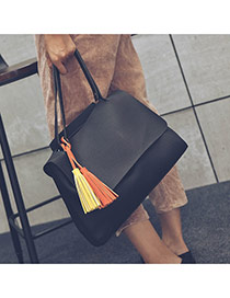 Delicate Black Tassel Decorated Pure Color Design Bag