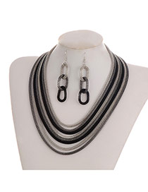 Fashion Black+gray Color-matching Decorated Short Chain Jewelry Sets