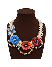 Exaggerate Multi-color Flower Decorated Hand-woven Short Chain Necklace
