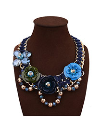 Exaggerate Dark Multi-color Flower Decorated Hand-woven Short Chain Necklace
