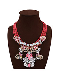 Exaggerate Red Geometric Shape Diamond Decorated Hand-woven Short Chain Necklace