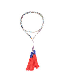Bohemia Orange Long Tassel Decorated Long Chain Necklace