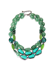 Vintage Green Stone Shape Decorated Short Chain Simple Necklace