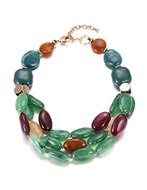 Trendy Green Oval Shape Decorated Short Chain Multilayer Necklace