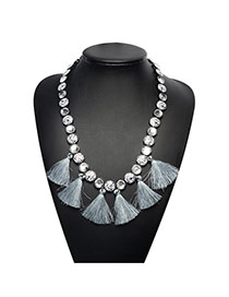 Bohemia Silver Color Round Shape Diamond Decorated Tassel Long Chain Necklace