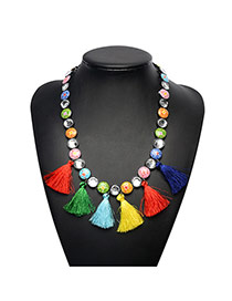 Bohemia Multi-color Round Shape Diamond Decorated Tassel Long Chain Necklace