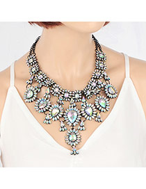 Exaggerate Multi-color Waterdrop Shape Decorated Short Chain Neckalce