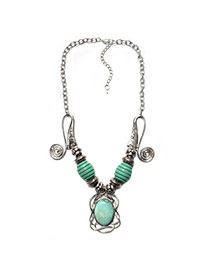 Vintage Silver Color+green Oval Gemstone Decorated Gometric Shape Necaklace