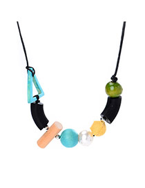 Exaggerate Multi-color Geometric Shape Decorated Long Chain Sweater Necklace