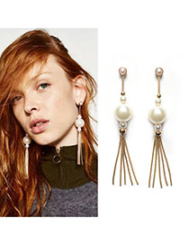 Fashion Gold Color Round Shape Decorated Metal Tassel Simple Earrings