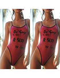 Sexy Pink Letter Pattern Decorated Backless One-piece Bikini