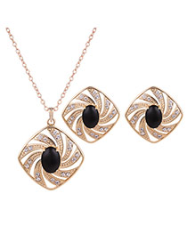 Fashion Gold +black Diamond Shape Decorated Simple Long Chain Jewelry Sets