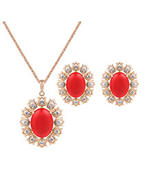 Fashion Gold Color+red Diamond Decorated Simple Long Chain Jewelry Sets