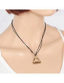 Vintage Black Metal Triangle Pendant Decorated Double Layer Necklace