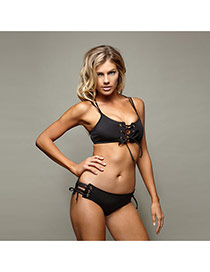 Vintage Black Pure Color Decorated Bandage Simple Bikini