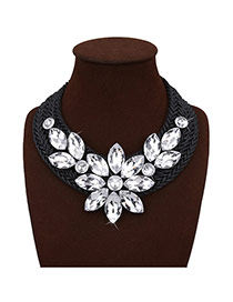 Exaggerated White Crystal Flower Shape Decorated Hand-woven Chain Necklace