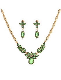 Exquisite Green Waterdrop&leaft Shape Decorated Simple Jewelry Sets