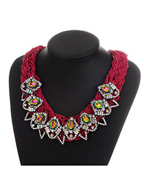 Luxury Purple Red Geometric Shape Decorated Hand-woven Chain Necklace