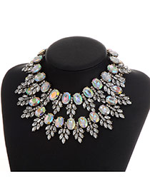 Luxury Multi-color Leaf Shape Decorated Hollow Out Design Necklace