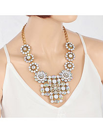 Elegant Multi-color Hollow Out Flower Shape Pendant Decorated Short Chain Necklace