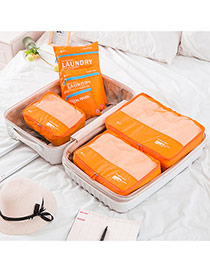 Fashion Orange Letter Pattern Decorated Net Yarn Storage Bag(6pcs)
