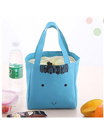 Cute Blue Cartoon Face Pattern Decorated Pure Color Lunch Bag