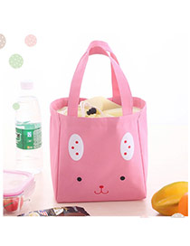 Cute Pink Cartoon Bear Pattern Decorated Pure Color Lunch Bag