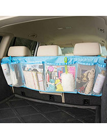 Fashion Blue Pure Color Decorated Net Yarn Vehicle-mounted Storage Bag