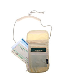 Fashion Khaki Letter Pattern Decorated Pure Color Hang Neck Wallet