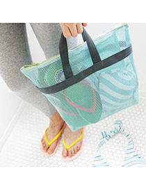 Fashion Sky Blue Color Matching Decorated Portable Wash Gargle Storage Bag
