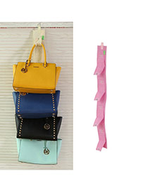 Fashion Pink Multilayer Button Decorated Pure Color Hang Storage Bag