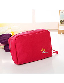 Fashion Plum Red Embroidery Pattern Decorated Pure Color Cosmetic Bag