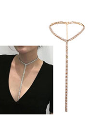 Luxury Gold Color Long Tassel Pendant Decorated Pure Color Chocker