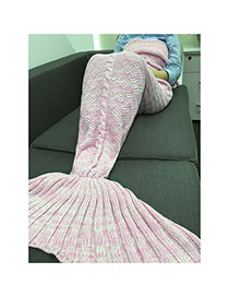 Fashion Pink Flower Pattern Decorated Pure Color Mermaid Shape Blanket