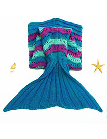 Fashion Blue Wave Stripe Pattern Decorated Color Matching Mermaid Shape Kids Blanket