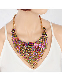 Elegant Pink+green Hollow Out Wing Shape Decorated Short Chain Necklace