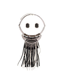 Exaggerated Black Beads Tassel Pendant Decorated Short Chain Jewelry Sets