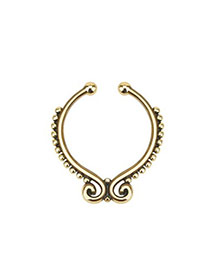 Vintage Gold Color Geometric Decorated Simple Pure Color U Shape Nose Ring